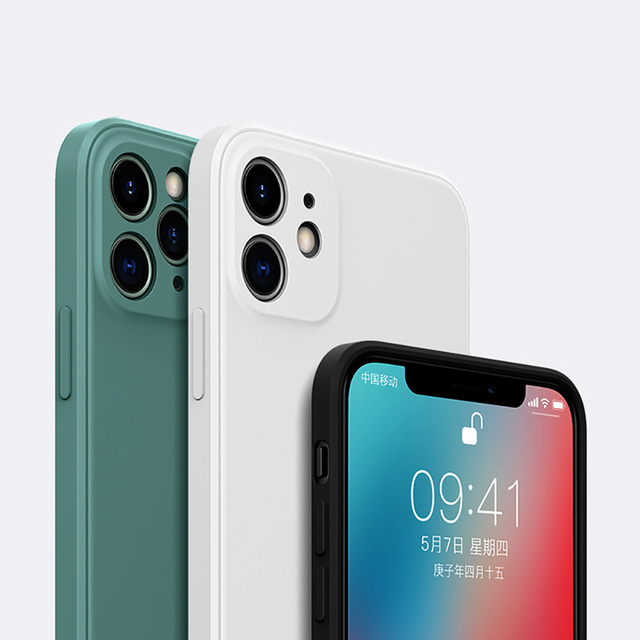 Luxury Orignal Square Edge Soft Liquid Silicone Case For iPhone 12 11 Pro XS Max Mini X XR 6S 7 8 Plus SE 2020 Shockproof Cover 3