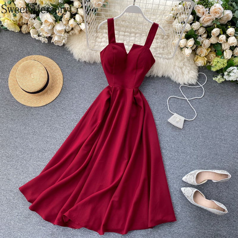 2021 Summer Women Long Cocktail Dress Sweet Memory 7 Color Back Green Wine Red White Yellow Sexy V-Neck Prom Dresses Beach Robes