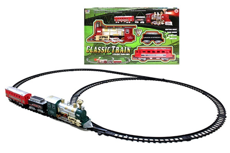 Electric Smoke Sound-And-Light Rail Train Model Classic Steam Train CHILDREN'S Toy Set