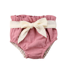 2021 Brand New Toddler Infant Bowknot Baby Girls Ruffle Bloomers PP Shorts Macrame Bottoms Solid Baby Pants Summer Clothes 3M-2T