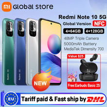 Global Version Xiaomi Redmi Note 10 5G NFC 4GB 64GB/4GB 128GB Smartphone Dimensity 700 90Hz Display 48MP Camera 5000mAh