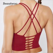 2019 New Female Solid Color Sling Sports Vest Yoga Clothes Cross Beauty Back Sports Bra  Quick-drying Breathable Shockproof Bra low impact quick drying sports bra in contrast color