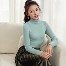 LHZSYY 2019 Autumn Winter New Womens High Lapel Knit Sweaters Short Slim Wild Pullovers Warm Tight Bottoming shirt Multi-color