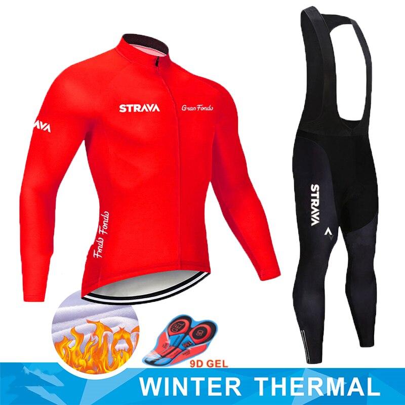 2019 Strava Lange Mouwen Maillot Ropa Ciclismo Invierno Thermische Fleece Fiets Team Wielertrui Set Winter MTB Fiets Kleding