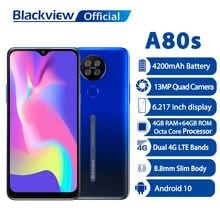 Câmera 4200mah 6.2 do quadrilátero de 13mp camera waterdrop tela 4g telefone mobile blackview a80s helio a25 android 10 smartphone 4gb ram 64gb rom
