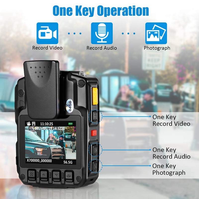 HD 1296P A7 64GB grand Angle Ultra Police sécurité corps porté caméra infrarouge enregistreur IR