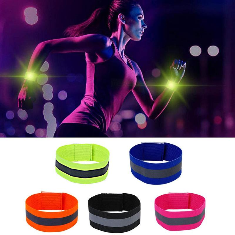 2Pcs Safety Reflective Arm Band Belt Strap For Outdoor Night Running Cycling Sports Reflective Armband