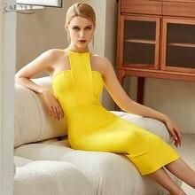 Adyce-vestido ceñido amarillo sin tirantes para mujer, Sexy vestido sin mangas con cuello Halter para celebraciones nocturnas, novedad de 2021