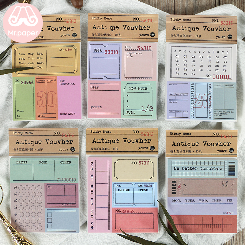 Mr Paper 30pcs/lot Vintage Bill Note Slot Transparent Butter Paper Memo Pad Sticky Notes Notepad Diary Self-Stick Note Memo Pad