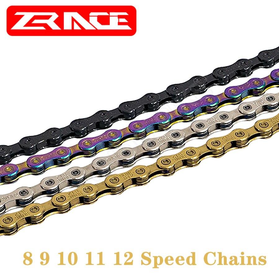 Велосипедная цепь ZRACE, неоновая запчасть для горного и шоссейного велосипеда, 8 9 10 11 12 Скоростей, серого, серебристого, черного цветов