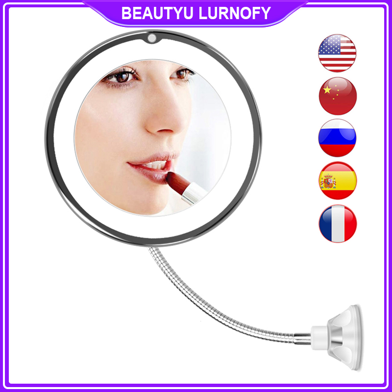 LED Mirror Light Makeup Mirror with Led Light Flexible 10X Magnifying Mirrors Light Cosmetic Miroir Dropshipping Vanity Mirrors 1