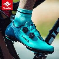 Santic ciclismo sapatos de fibra de carbono ultraleve mtb sapatos de bicicleta respirável anti deslizamento de montanha auto bloqueio sapatos|Sapatos de ciclismo| |  -