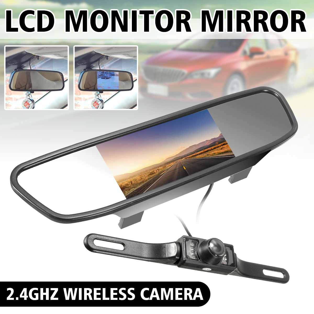 """4.3/"""" TFT LCD Monitor Mirror Car Rear View Backup Reverse Camera Kit Night Vision"""