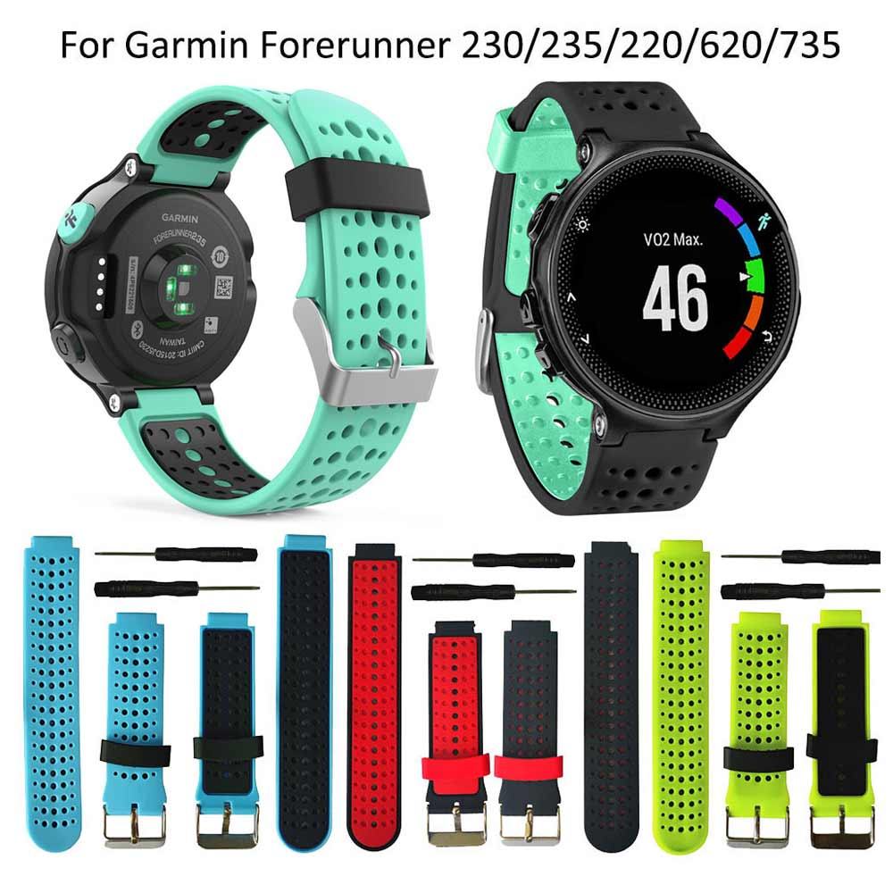 13colors For Garmin Forerunner 235 WatchBand Silicone Strap Bracelet For Garmin Forerunner 220/230/620/630/735XT GPS Accessories