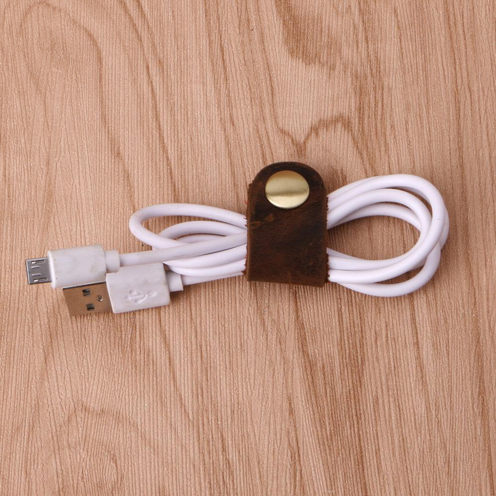 PU Leather Cable Straps Ties Wraps Cord Organizer Holder Winder Wire Y