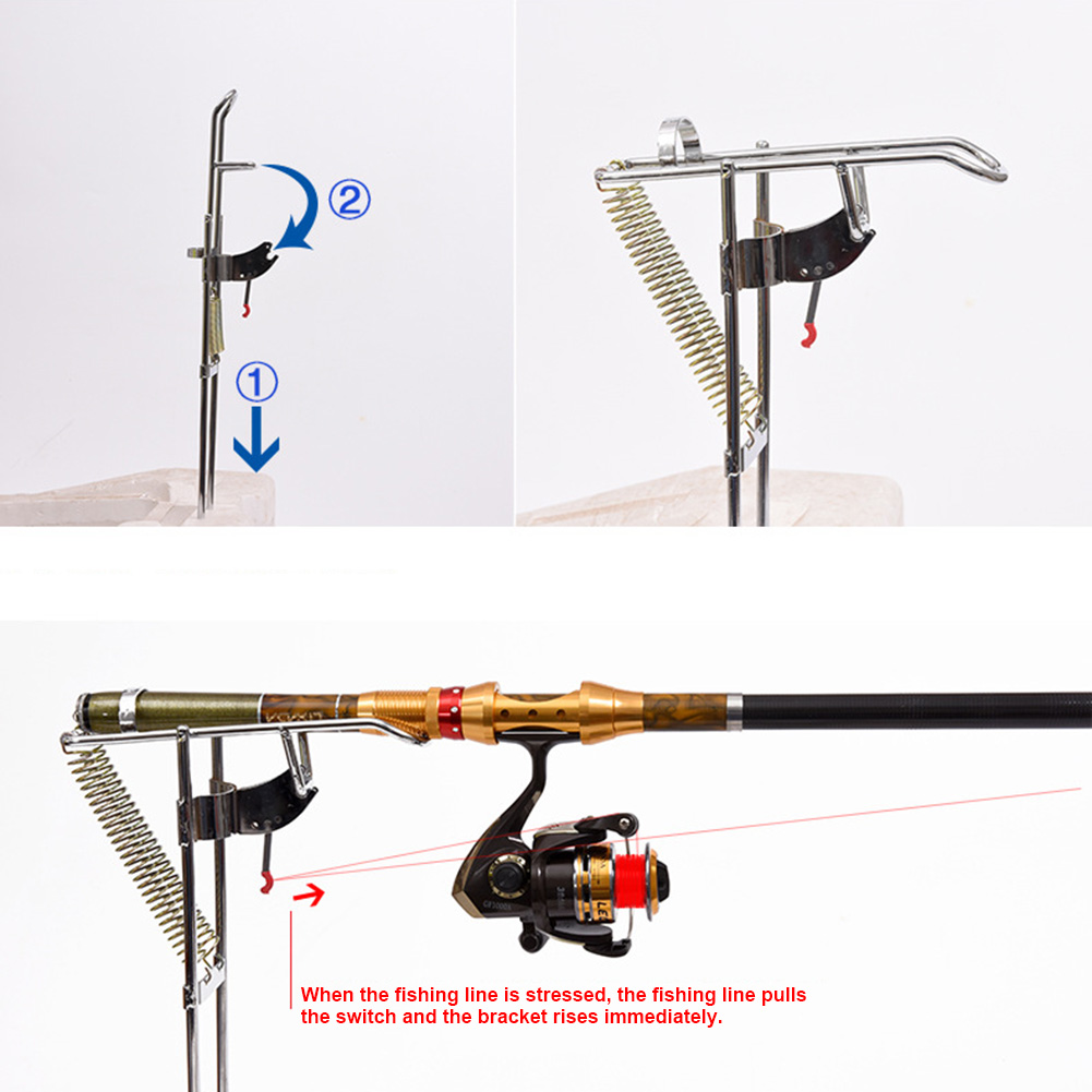 Fishing Rod Holder Bracket Pole Mount Automatic Double Spring Angle Anti-Rust Accessory SEC88