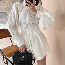Spring White Shirt Casual Suit Dress Women Western Style Waist Wide Leg Shorts Two-piece Belt 2019 Two Piece Outfits