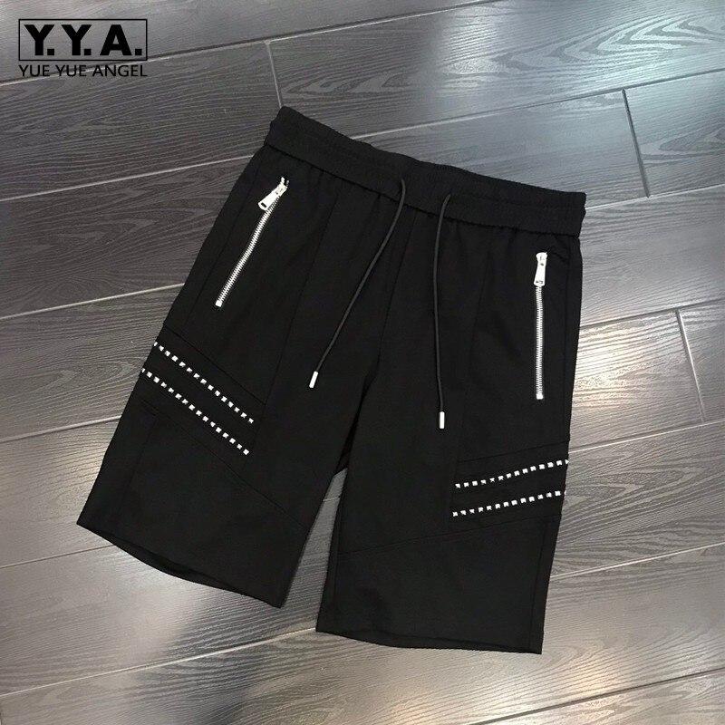 Harajuku мужские черные пляжные шорты, уличная одежда, на молнии, с карманами, с заклепками, шорты, мужские Модные хлопковые короткие брюки длино