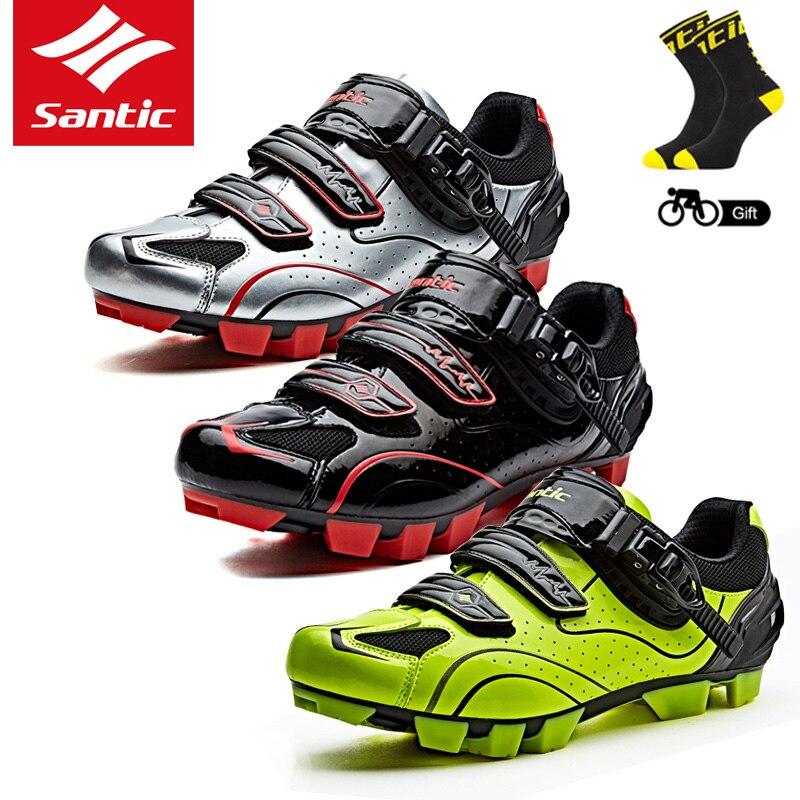 Santic nouveaux hommes chaussures de cyclisme chaussures vtt baskets de cyclisme chaussures de course athlétique chaussures de vélo VTT pour le cyclisme noir