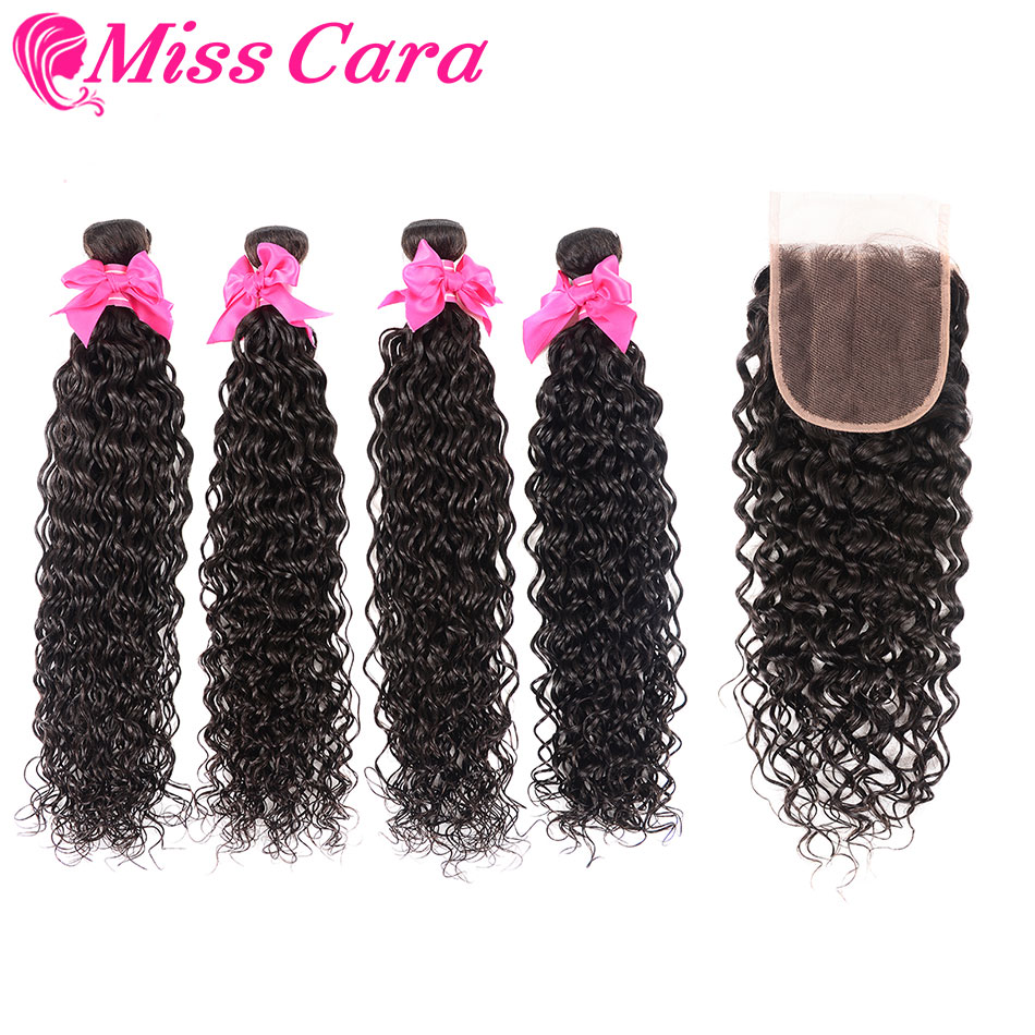 Malaysian Water Wave 3 4 Bundles With Closure 100 Human Hair With Closure Middle Free Closure