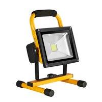 Dc12v-24v 20w 10w Holofotes Holofote Recarregável Levou Luz de Inundação Ao Ar Livre Portátil Lâmpada de Acampamento Luz de Trabalho Com Carro Ue carregador