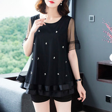 2019 Summer New Style Korean-style Crew Neck Short Sleeve Loose Fat Mm Slimming GIRL'S Shirt Beads Large Size Sweater T-shirt To