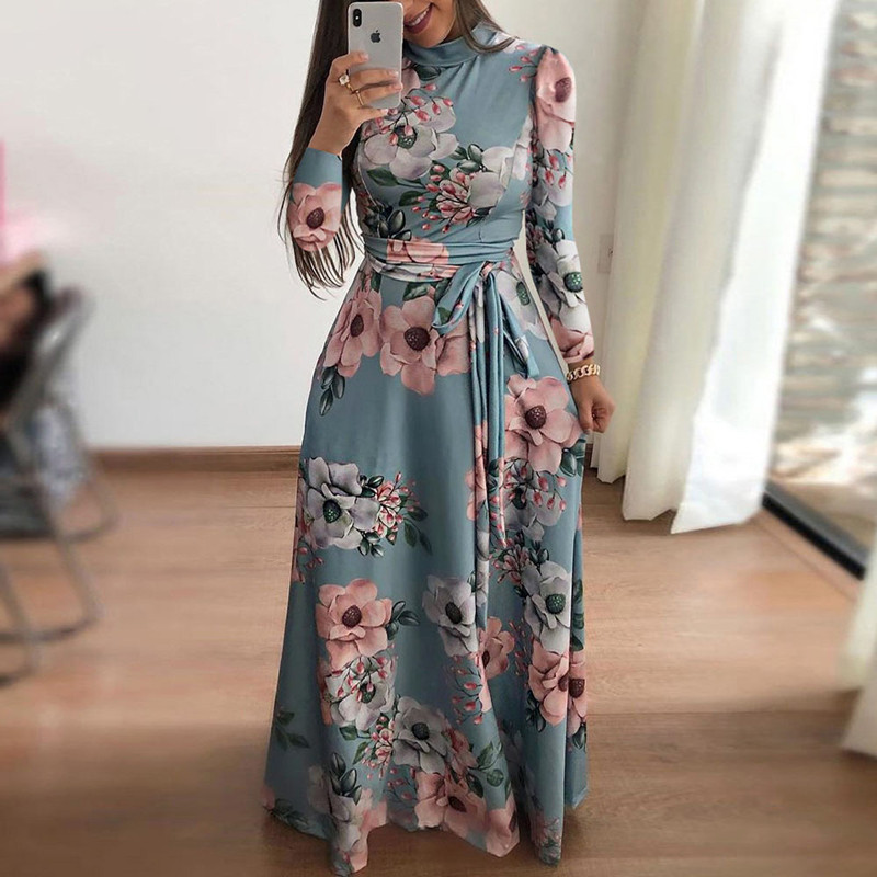 Plus Size Spring Autumn Womne's Dress Bohomia Flower Print Maixi Dresses Fashion Belt Tunic Boho Eveing Party Midi Dress Vestido