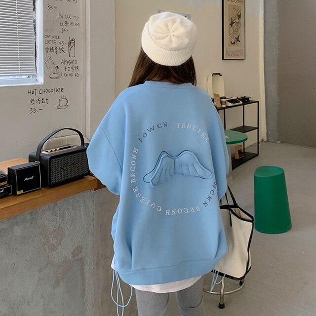 Oversized Hoodies  Harajuku Streetwear Chic Letter Print Hoodies Women Winter  Long Sleeve Hoodies kawaii Sweatshirt 1