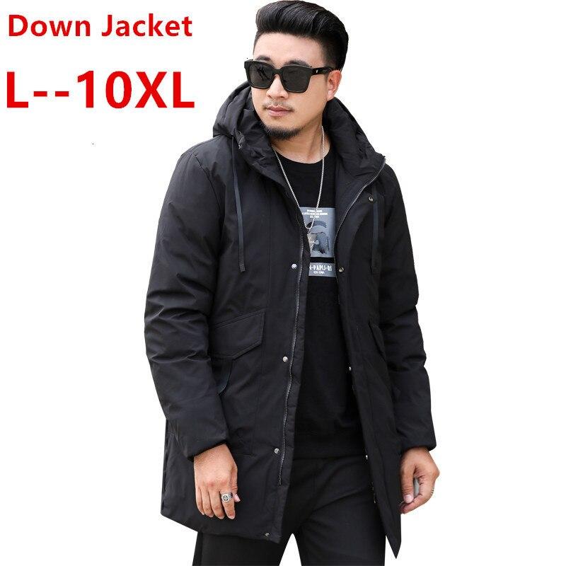 Plus Size 8XL 7XL 6XL 5XL 4XL 2020 New Winter Men Dow N Jacket Extra Long Duck Dow N Coat Thicken Warm Windproof Male Outwear