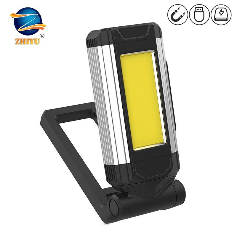 COB светодиодный рабочий светильник Магнитный супер яркий Портативный USB Перезаряжаемые светодиодный вспышка светильник походный светильн...