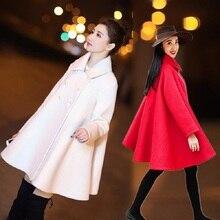 Весенне-осенние женские пальто одежда из шерсти и Смеси Свободные трапециевидные куртки для беременных шерстяные пальто двубортная куртка