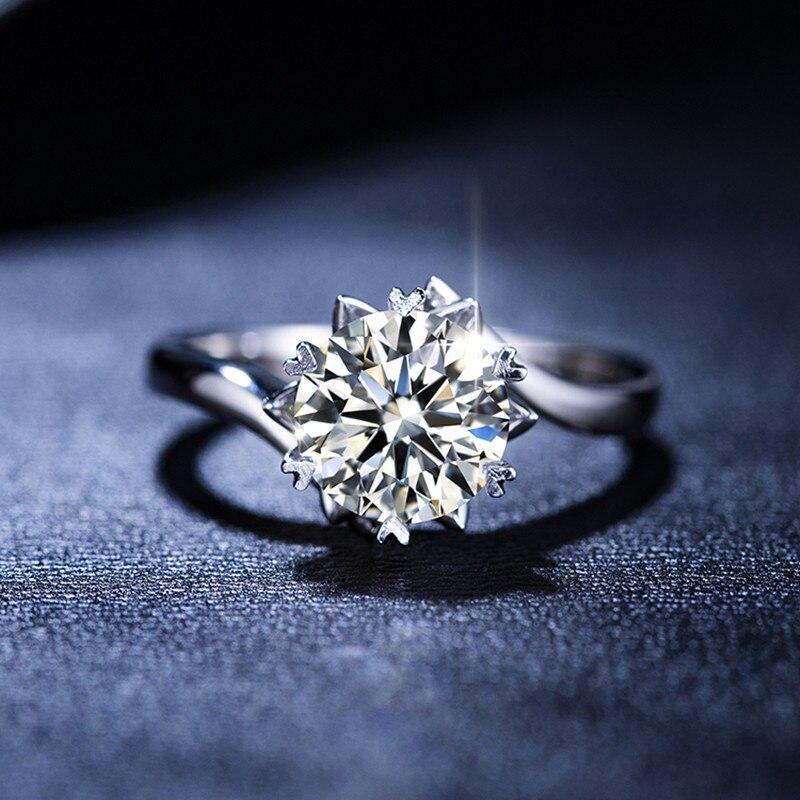 Classique 2.0ct Moissanite 14K solide réel or blanc anneaux de mariage Propose des bandes pour les femmes mariée petite amie diamant Test passé