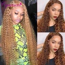 Парик Cynosure #4/ 27 из натуральных человеческих волос с кружевом спереди для черных женщин, малазийский кудрявый парик средней части