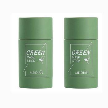 2PCS Green Tea Oil Control Cleansing Mask Purifying Clay Stick Mask Skin Care Anti-Acne Eggplant Remove Blackhead Mud Mask TSLM1 1