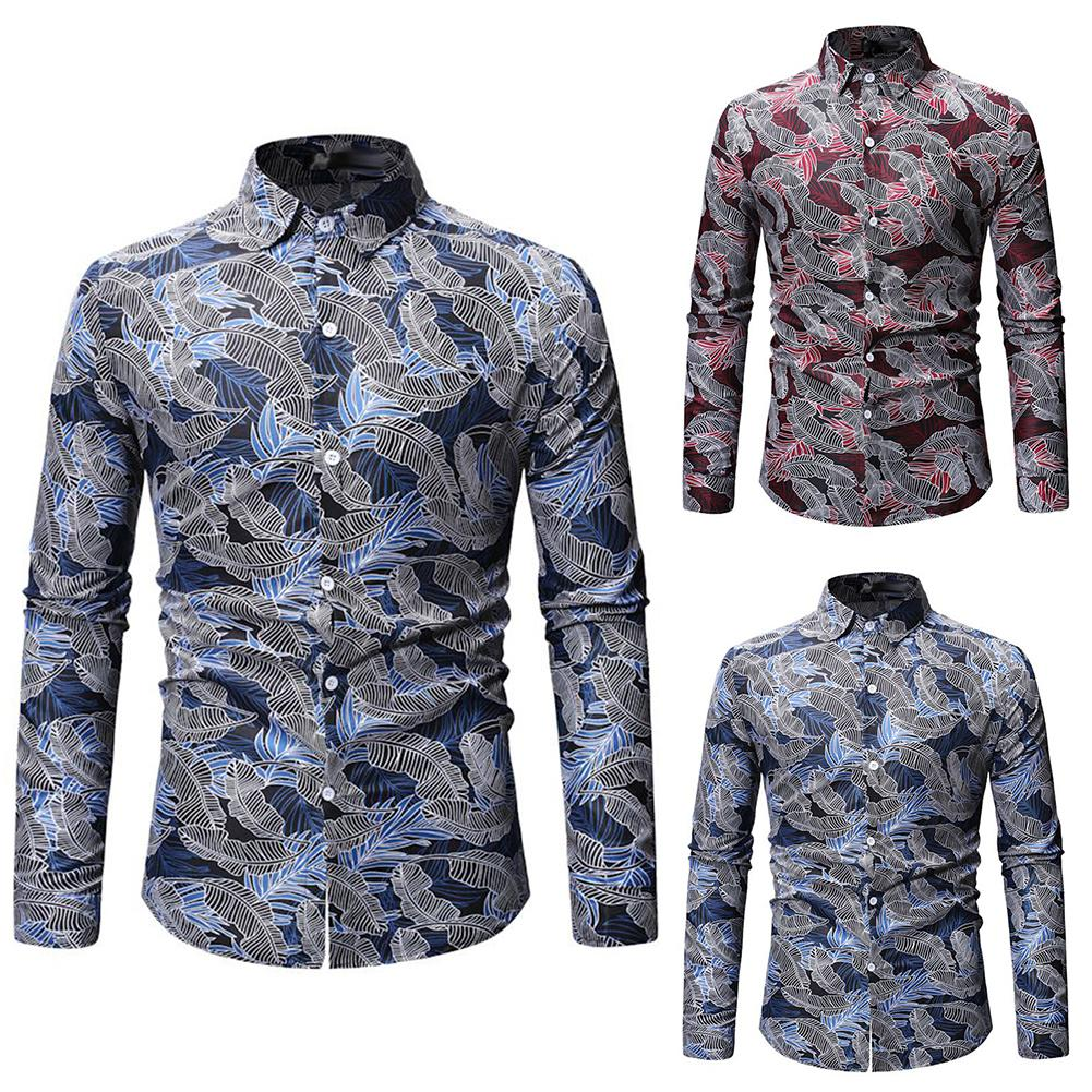 Spring Autumn Mens Shirts Leaves Print Casual Men Shirt Slimed Fit Long Sleeve Shirts Turn Down Collar Top Men's Clothing