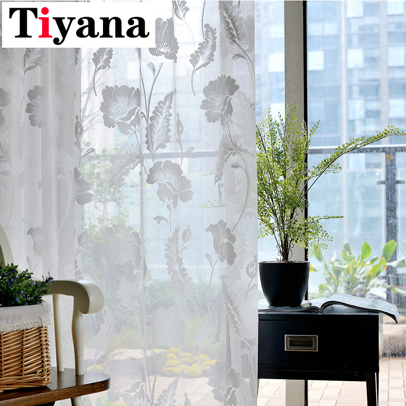 White Curtains Floral Window Treatment Tulle Curtains For Living Room Voile Home Textiles Sheer Panel Transparent P101Z