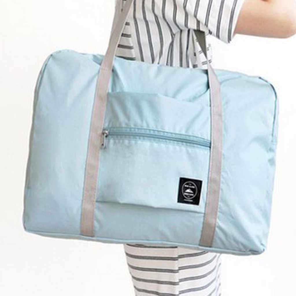 السفر حقيبة قدرة كبيرة للماء النايلون الحقيبة للطي أكياس الرجال النساء الأمتعة حقيبة ظهر قطنية تحمل اليد مكعبات تعبئة الأمتعة #3