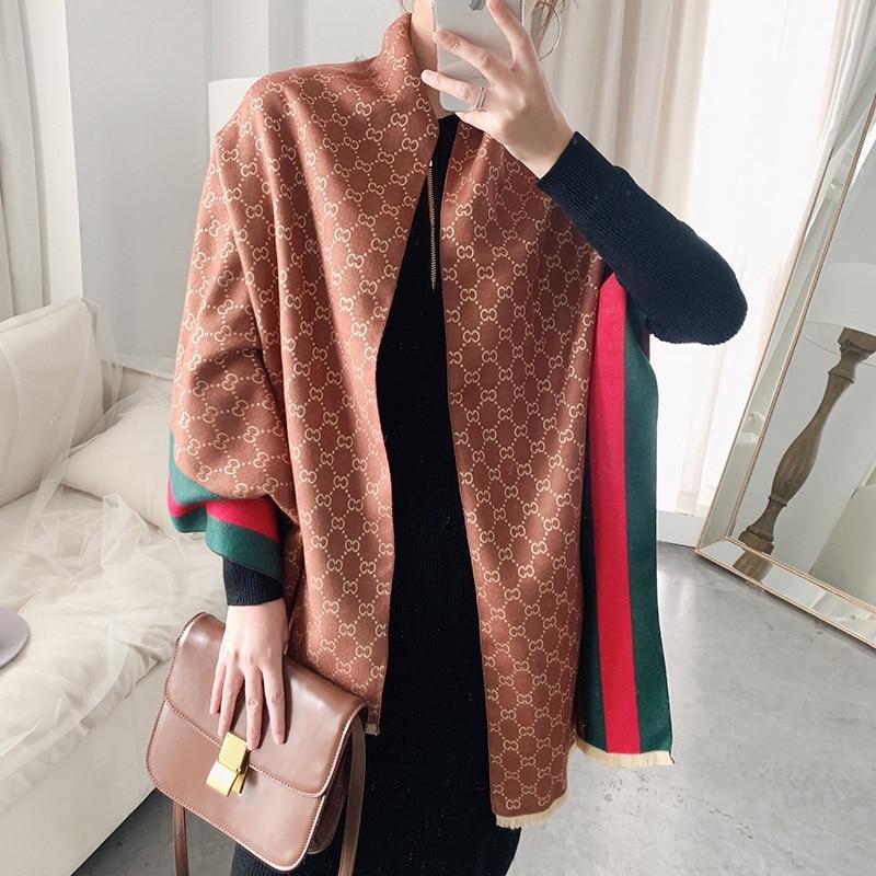 Shawls And Wraps Cashmere Pashmina Winter Women Scarf Luxury Brand Printing Large Size Bandana Cape Hijab Blanket Poncho