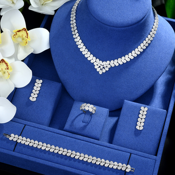 Be 8 Luxury Tassel Drop Women Wedding Jewelry Sets AAA+ Cubic Zirconia Saudi Arabia Statement Necklace Earring Set Bijoux S493