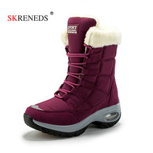 SKRENEDS 2019 Fashion Women Boots High Quality Mid-Calf Winter Snow Boots Women Lace-up Comfortable Outdoor Non-slip Rain Boots(China)