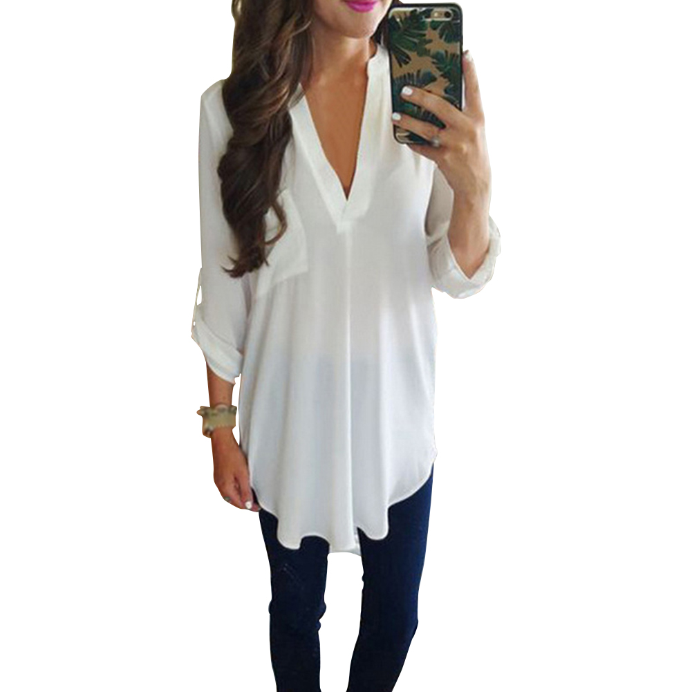 Casual Top Women Blouse Summer Solid Plus Size Tunic Long Sleeve Loose V Neck With Pocket Party Chiffon Pullover
