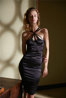EASYSMALL Women dress new arrivel Fashion Summer Beach Sexy Backless high end silk High Waist sleeveless Dresses