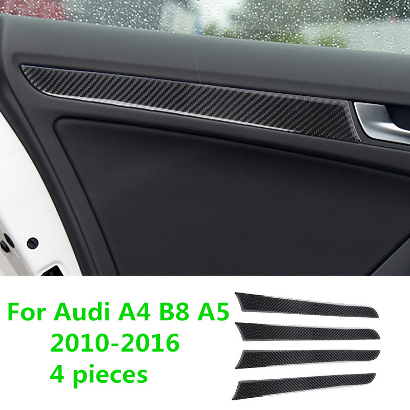 For Audi A4 B8 A5 2010 2011 2012 2013 2014 2015 2016 Carbon Fiber Window Door Panel Trim Cover image