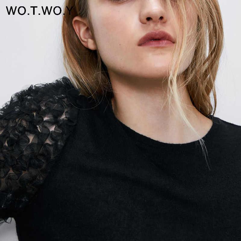 WOTWOY Hollow Out 레이스 티셔츠 여성 캐주얼 o 넥 코튼 블랙 슬림 티셔츠 여성 반팔 니트 탑 여성 여름 2020
