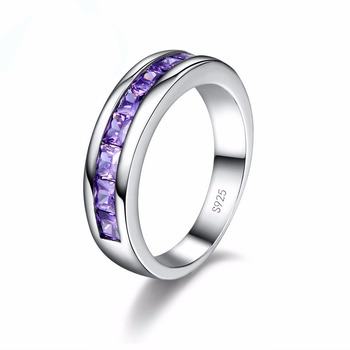 Trendy Girls 925 Sterling Silver Rings For Women Wedding Purple Crystal Women Finger Ring Amethyst Engagement