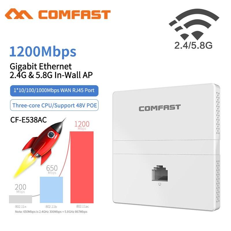 CF-E538AC 1200Mbps Access Point Poe Gigabit Wall AP Router Wireless 802.11AC Router Dual Band 1*10/100/1000Mbps WAN /LAN RJ45 AP