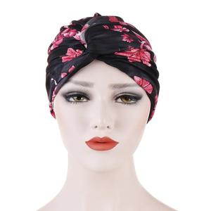 Image 5 - Muslim Women Twist Knot Chemo Cap Cancer Hat Turban Hat Bonnet Head Scarf Wrap Indian Hat Beanies Skullies 2019 Arab Islamic Cap