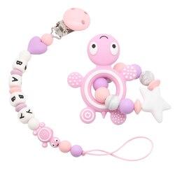 8 kolor silikonowy klips smoczka spersonalizowana nazwa łańcuszek smoczka uchwyt na smoczek dziecko ząbkowanie smoczek zabawka atrapy klipsów