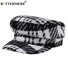 BUTTERMERE Black White Plaid Newsboy Cap Wool Winter Hat for Women Woolen Designer Brand Retro Casual Female Falt Cap