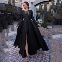 Sevintage Black A Line Simple Women Prom Dresses Lace Satin Formal Evening Party Gowns Front Split Long Sleeve vestido de noche